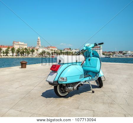 Blue Vintage Scooter On The Waterfront