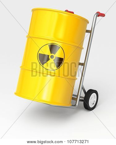 Hand Truck With Radioactive Barrels