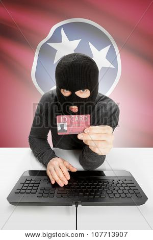 Hacker With Usa States Flag On Background And Id Card In Hand - Tennessee