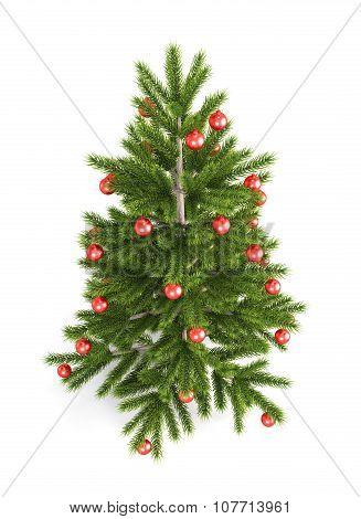 Christmas Tree With Red Christmas Balls. 3D.