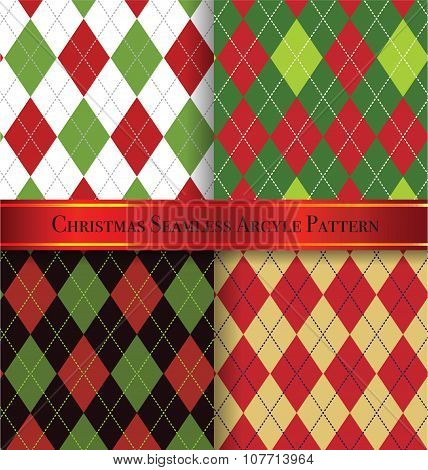 Christmas Argyle Pattern Design Set 1