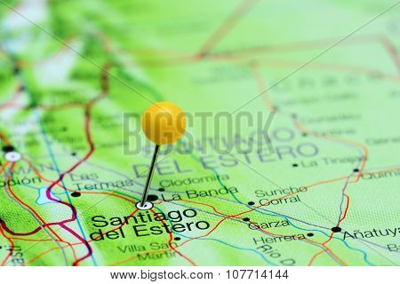 Santiago del Estero pinned on a map of Argentina