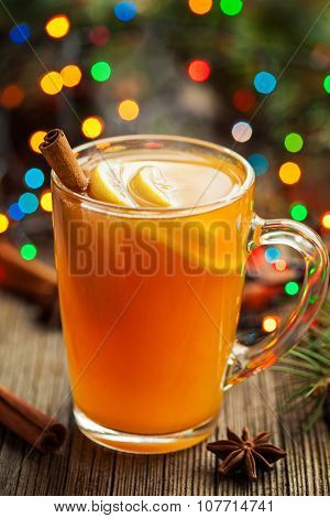 Traditional hot apple cider alcohol drink winter season refreshment juice. Healthy organic christmas