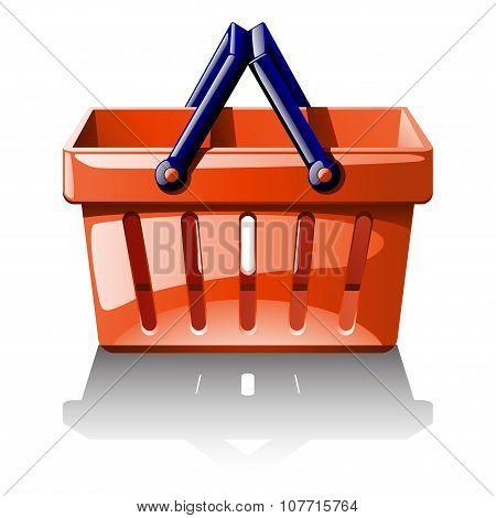 illustration of red basket for shoping