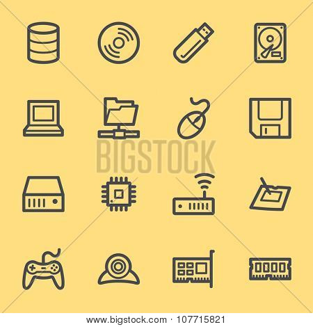 Computer components web icons set