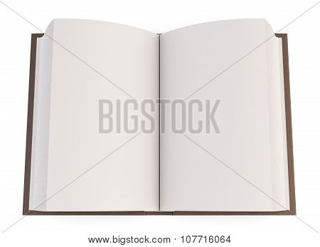 Open Book Isolated On White Background. Top View. 3D.