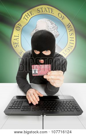 Hacker With Usa States Flag On Background And Id Card In Hand - Washington