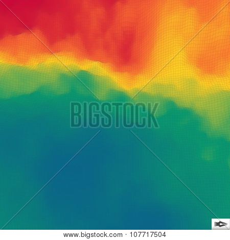 Colorful Abstract Geometric Background. Mosaic. Multicolor Design Template. Perspective Grid Backdrop. Vector Illustration.