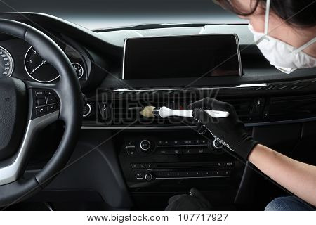 Car Service. Cleaning Of  Interior By A Brush 2