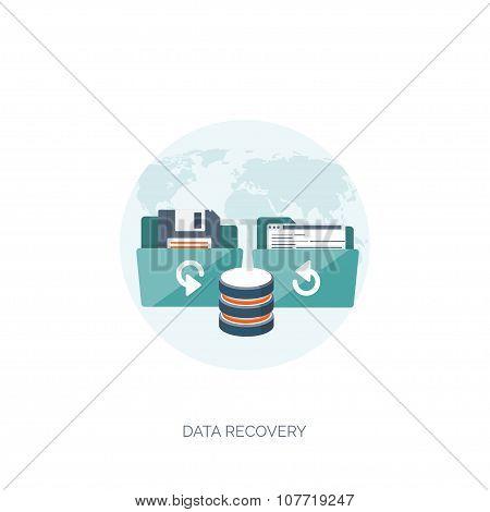 Computing. Data storage. Information backup. Folder with files.