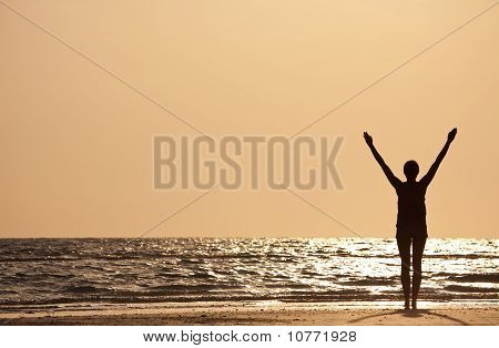 Successful Woman Arms Raised At Sunset On Beach