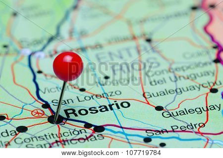 Rosario pinned on a map of Argentina