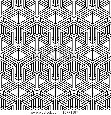 Contemporary Abstract Vector Endless Background, Three-dimensional Repeated Pattern. Decorative Grap