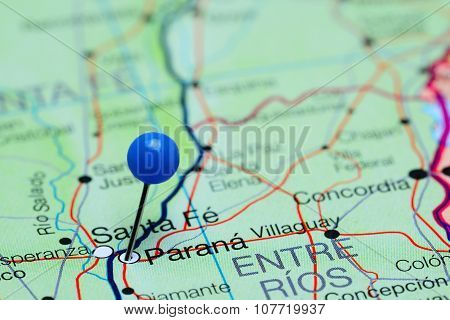 Parana pinned on a map of Argentina