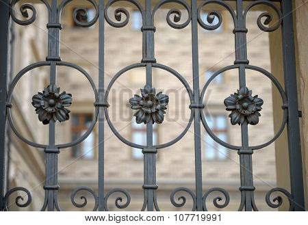 Decorative Forged Fence Of Schwarzenberg Palaces In Prague, Czech Republic.