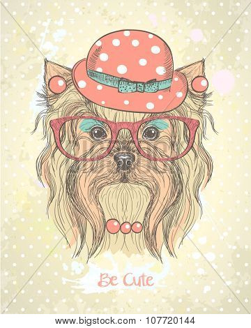 Cute hand drawn card with fashion yorkshire terrier girl, dressed in hat, earrings,necklace and glasses with makeup on her muzzle. Quote card - Be cute.