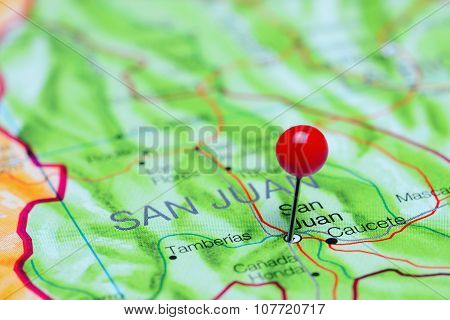 San Juan pinned on a map of Argentina