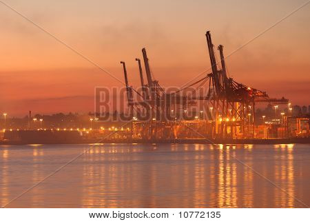 Vancouver Harbor Cargo Cranes Dawn