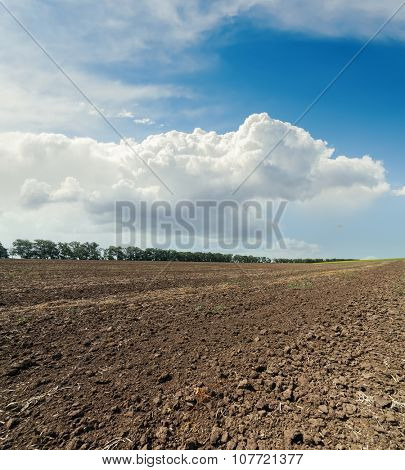 clouds in sky over plowed field