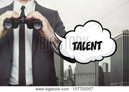 Talent text on speech bubble with businessman holding binoculars