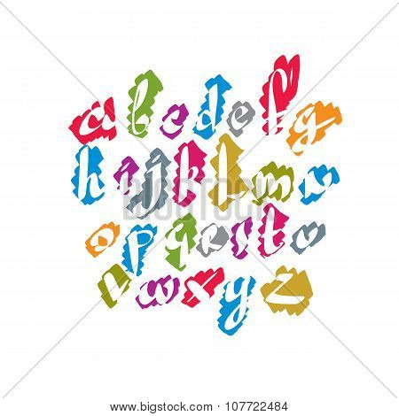 Calligraphic colorful font vector alphabet letters from a to z