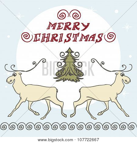 Christmas Deer Doodles