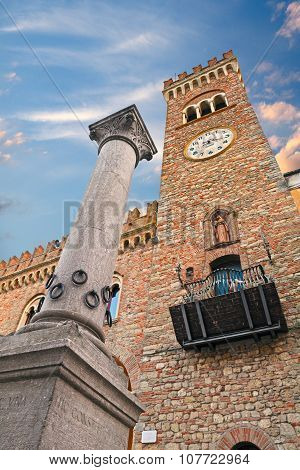 The Column Of Hospitality In Bertinoro, Italy