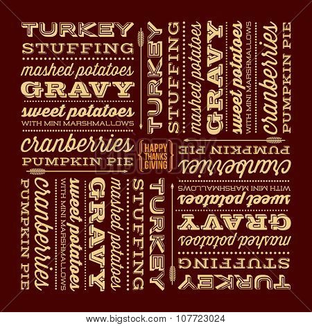 Thanksgiving Day typographic design. traditional thanksgiving dinner menu listed in retro display fonts.