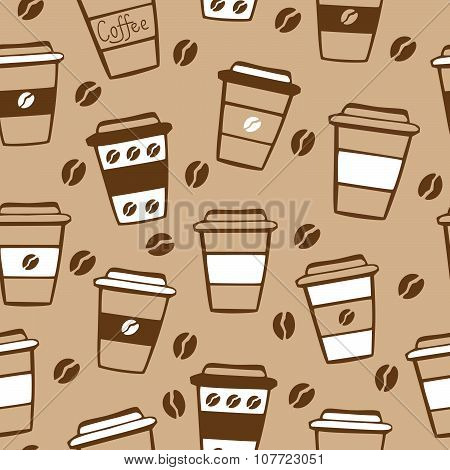 Vector Seamless Pattern With Coffee Cups On Beige Background