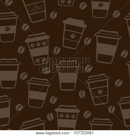 Vector Seamless Pattern With Coffee Cups On Dark Background