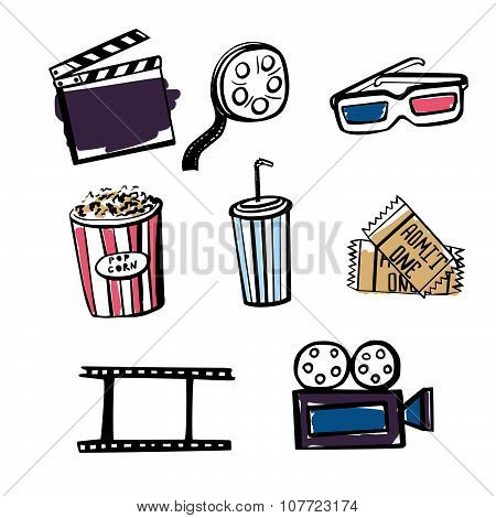 Set Of Hand Drawn Doodle Cinema Objects