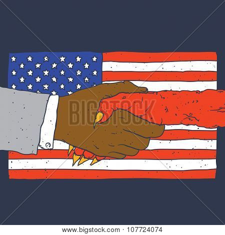 Deal with devil american flag on background