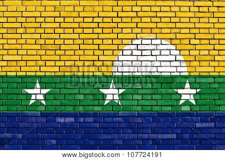 Flag Of Nueva Esparta State Painted On Brick Wall
