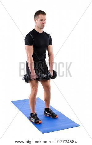 Young man shows starting position of Squats with dumbbels workout, isolated on white