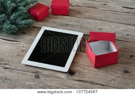White Tablet With Handmade Gifts Closeup