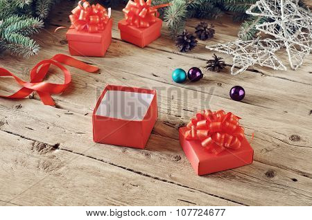 Open Christmas Gift Box With Christmas Toys