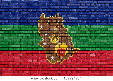 Flag Of Amazonas State Painted On Brick Wall
