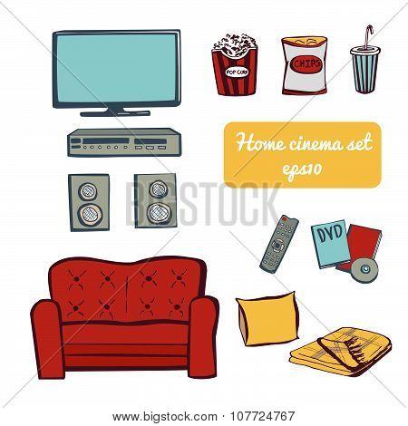 Set Of Doodle Images Home Cinema