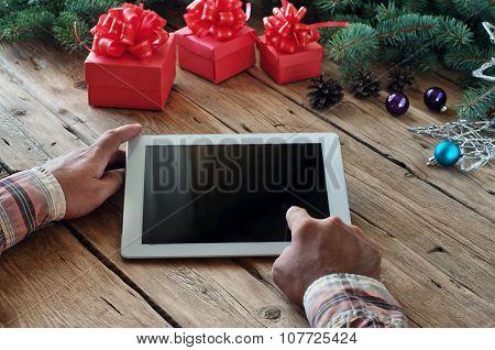 Man Clicks On The Blank Screen Tablet Computer Closeup