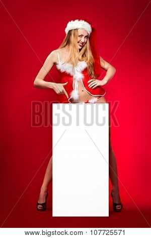 happy woman in santa helper hat