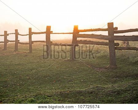 Paddock Fence At Sunrise