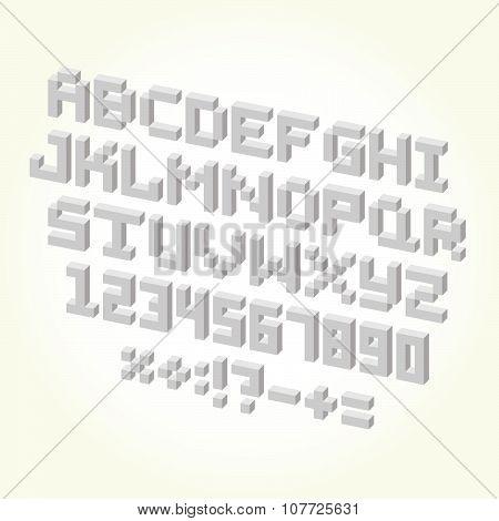 Pixel brick font isolated vector set