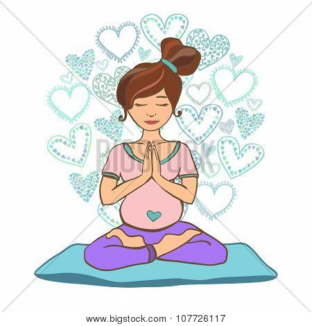 Vector Doodle Illustration Of Woman Doing Prenatal Yoga