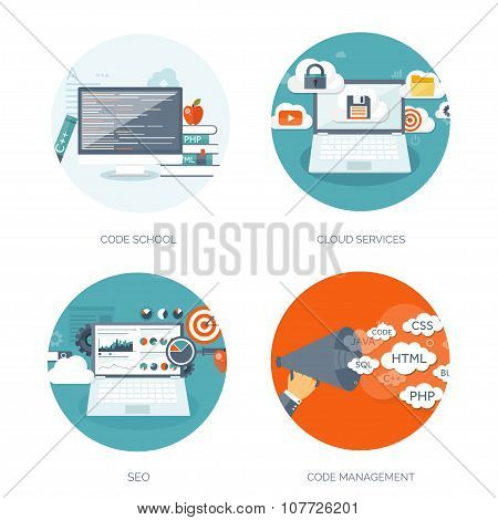 search engine vector illustration set