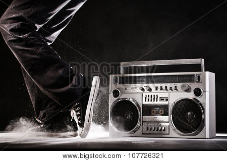 Retro Ghetto Boom Box, Dust And Dancer Isolated On Black With Clipping Path