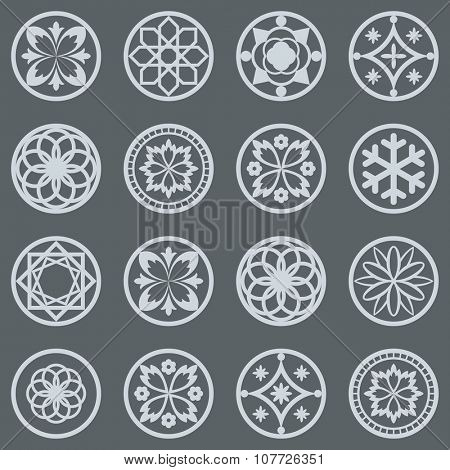 Vintage round design elements vector set.