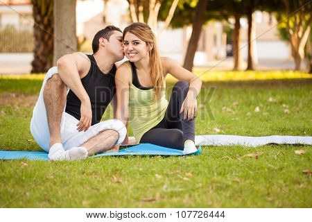 Beautiful Girl Exercising With Her Boyfriend