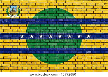 Flag Of Bolivar State Painted On Brick Wall