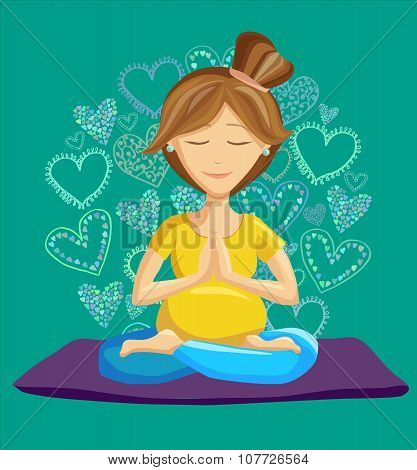 Vector Illustration Of Young Woman Doing Prenatal Yoga In Lotus Pose