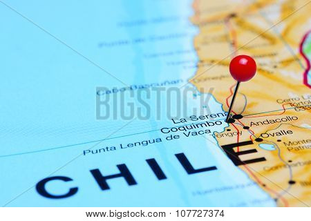 Coquimbo pinned on a map of Chile